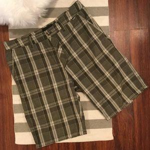 Hurley Dark Light Gray Plaid Shorts